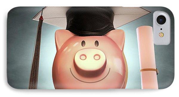 Piggy Bank Wearing Graduation Cap IPhone Case