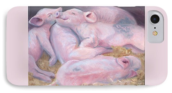 Piglets At Peace Phone Case by Deborah Butts