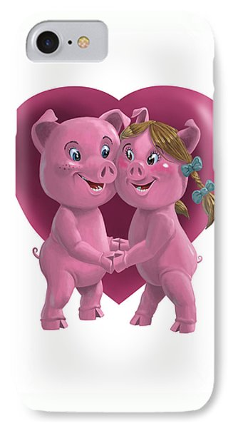 Pigs In Love Phone Case by Martin Davey