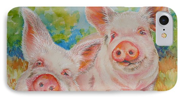 Pigs Pink And Happy Phone Case by Summer Celeste