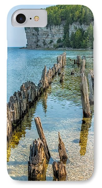Pilings On Lake Michigan IPhone Case by Paul Freidlund