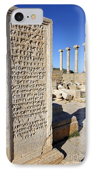 Pillar At The Old Forum At Leptis Magna In Libya IPhone Case by Robert Preston
