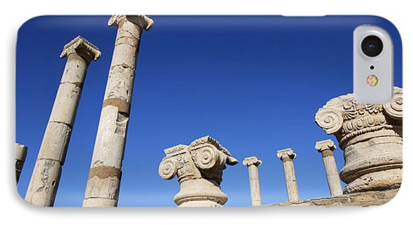 Pillars At The Old Forum At Leptis Magna In Libya IPhone Case by Robert Preston