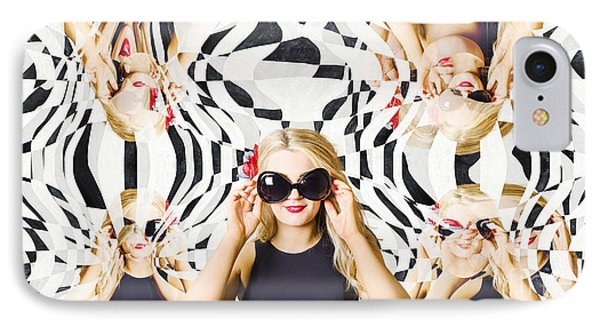 Pin Up Fashion Girl In Hall Of Mirrors IPhone Case by Jorgo Photography - Wall Art Gallery