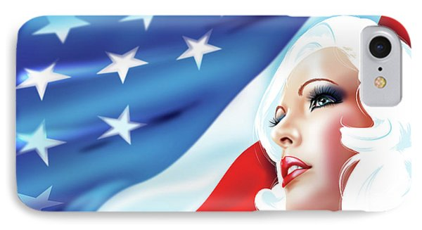 IPhone Case featuring the drawing Pin-up Girl Usa by Brian Gibbs