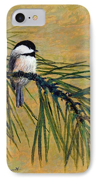 Pine Branch Chickadee Bird 1 IPhone Case by Kathleen McDermott