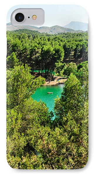 Pine Forests With Mountainous Backdrops Surround Turquoise Lakes Phone Case by Tetyana Kokhanets
