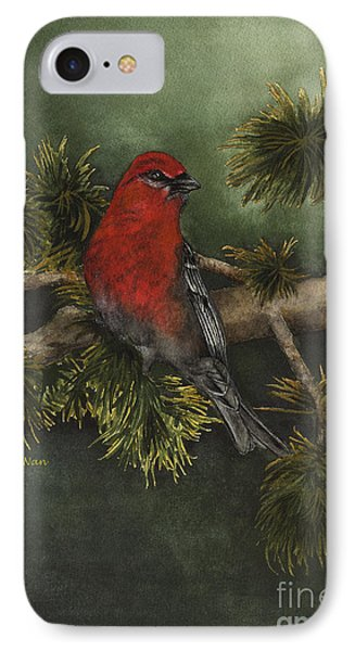 Pine Grosbeak IPhone Case by Nan Wright