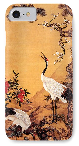 Pine - Plum - Cranes IPhone Case by Pg Reproductions