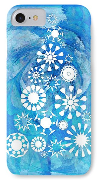 Pine Tree Snowflakes - Baby Blue IPhone Case