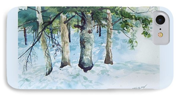 IPhone Case featuring the painting Pine Trees And Snow by Joy Nichols