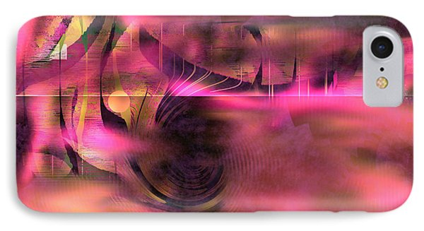 IPhone Case featuring the painting Pink Abstract Nature by Yul Olaivar