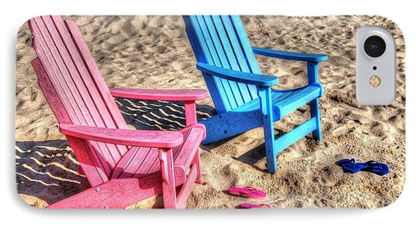Pink And Blue Beach Chairs With Matching Flip Flops Phone Case by Michael Thomas