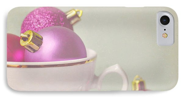 Pink And Gold Christmas Baubles In China Cup. Phone Case by Lyn Randle