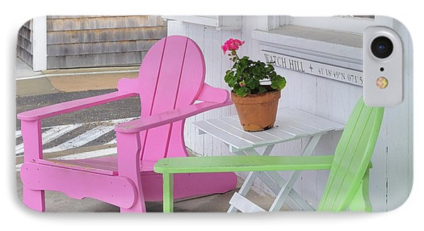 Pink And Green Chairs Watch Hill Rhode Island IPhone Case by Marianne Campolongo
