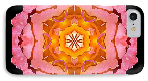IPhone Case featuring the photograph Pink And Orange Rose I Flower Mandala by David J Bookbinder