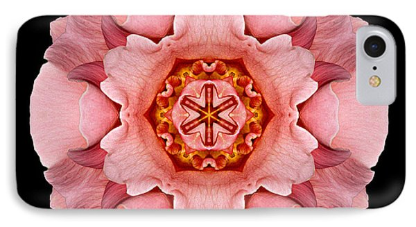 IPhone Case featuring the photograph Pink And Orange Rose Iv Flower Mandala by David J Bookbinder