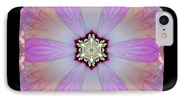 IPhone Case featuring the photograph Pink And White Hibiscus Moscheutos I Flower Mandala by David J Bookbinder