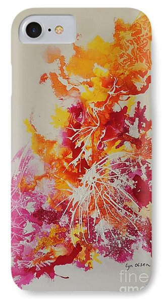 IPhone Case featuring the painting Pink And Yellow Coral by Lyn Olsen
