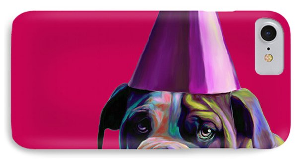Pink Birthday Pup Phone Case by Jennifer Gibson