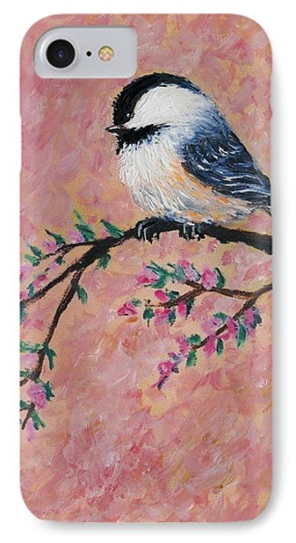 IPhone Case featuring the painting Pink Blossom Chickadees - Bird 2 by Kathleen McDermott