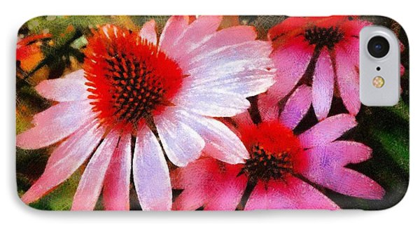 IPhone Case featuring the photograph Pink Coneflowers - Think Pink  by Janine Riley
