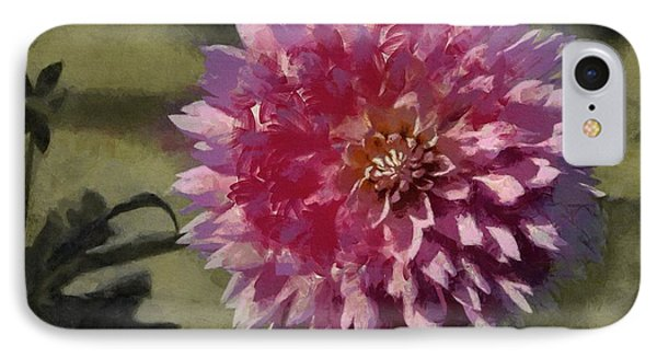 IPhone Case featuring the painting Pink Dahlia by Jeff Kolker
