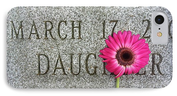 Pink Daisy On Grave For Daughter IPhone Case by Amy Cicconi