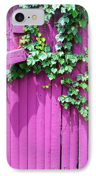 Pink Fence And Foliage IPhone Case by Mary Bedy