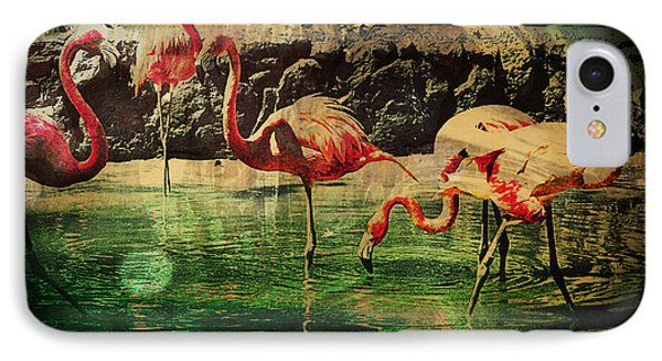 Pink Flamingos - Shangri-la IPhone Case by Absinthe Art By Michelle LeAnn Scott