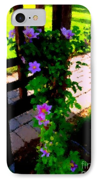 IPhone Case featuring the photograph Pink Flowers In Wooden Trellis 1 by Becky Lupe
