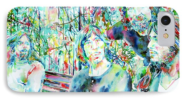 Pink Floyd At The Park Watercolor Portrait IPhone Case by Fabrizio Cassetta