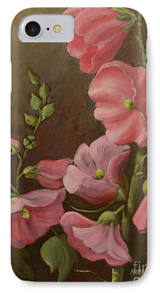 Pink Holyhock IPhone Case by Marta Styk