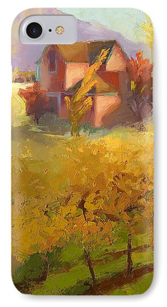 Pink House Yellow Field IPhone Case by Cathy Locke