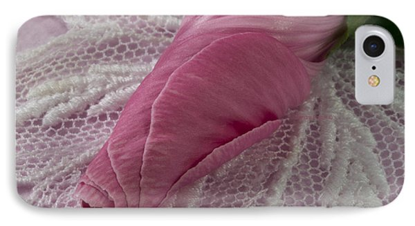 Pink Lavatera Bud Macro Phone Case by Sandra Foster