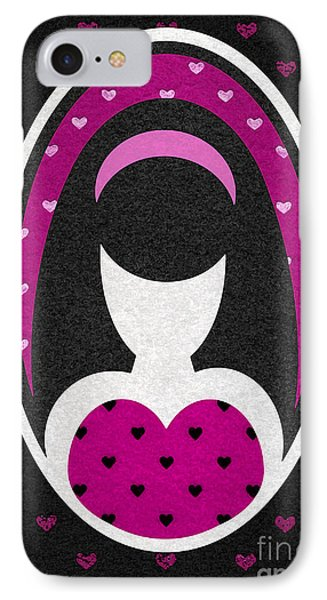 Pink Love Heart Girl IPhone Case