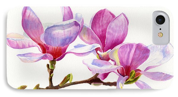 Pink Magnolia Blossoms On A Branch IPhone Case by Sharon Freeman