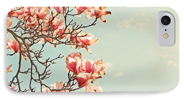 IPhone Case featuring the photograph Pink Magnolia Flowers Against Blue Sky by Brooke T Ryan