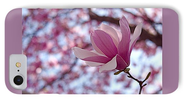 Pink Magnolia IPhone Case by Rona Black