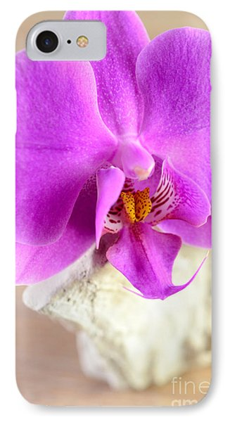 Pink Orchid On White Colored Driftwood IPhone Case by Sabine Jacobs