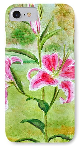 Pink Oriental Lillies Phone Case by Kathryn Duncan