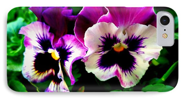 Violet Pansies IPhone Case by Rose Wang