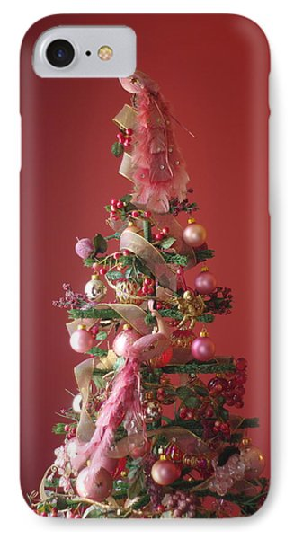 IPhone Case featuring the photograph Pink Peacock Christmas Tree by Suzanne Powers