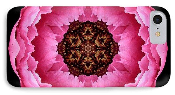 Pink Peony Flower Mandala Phone Case by David J Bookbinder