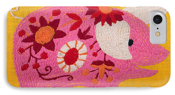 IPhone Case featuring the painting Pink Piggy by Izabella West