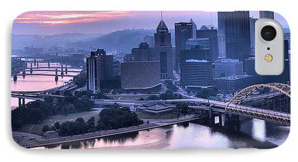 Pink Pittsburgh Morning IPhone Case by Adam Jewell