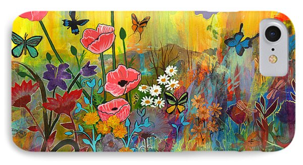 IPhone Case featuring the painting Pink Poppies In Paradise by Robin Maria Pedrero