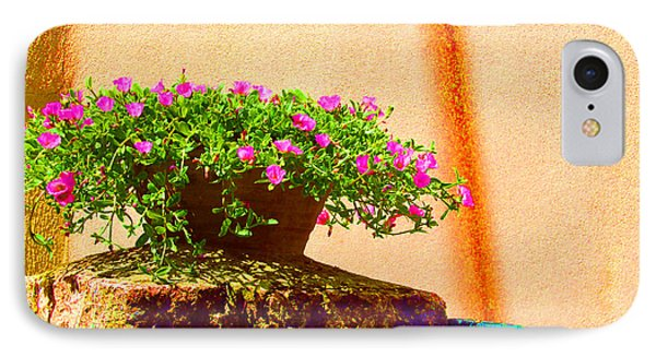 Pink Potted Flowers And Bench Phone Case by Tina M Wenger