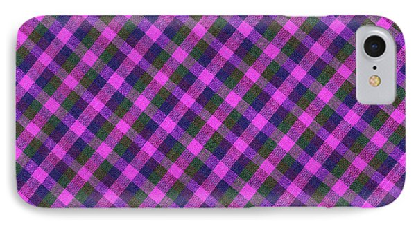 Pink Purple And Green Diagonal Plaid Textile Background IPhone Case