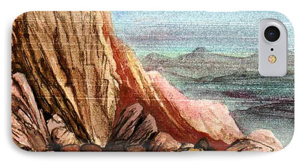IPhone Case featuring the painting Pink Rocks by Mikhail Savchenko